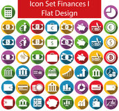 Flat Design Icon Set Finances I. With 50 icons for the creative use in web an graphic design Royalty Free Stock Photos
