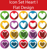 Flat Design Icon Set Heart I. With 20 icons for the creative use in web an graphic design Stock Photos