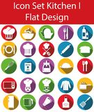 Flat Design Icon Set Kitchen. With 25 icons for the creative use in web an graphic design Stock Image