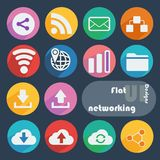 Flat design icon set - Networking Royalty Free Stock Photo
