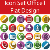 Flat Design Icon Set Office I. With 24 icons for the creative use in web an graphic design Stock Photography
