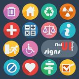 Flat design icon set - Signs. Signs icon set in different colors Royalty Free Stock Photos