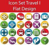 Flat Design Icon Set Travel. With 24 icons for for the creative use in web an graphic design Stock Images