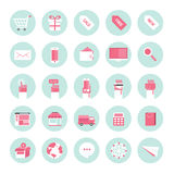 Flat design icons for business internet e-commerce collection Royalty Free Stock Images
