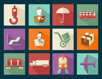 Flat design icons of cargo Stock Photos