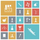 Flat design icons for chemistry lab Royalty Free Stock Photos