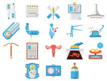 Flat design icons collection of gynecology. Set of flat colors style icons for elements and objects for gynecology and obstetrics on white background Royalty Free Stock Images