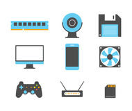 Flat design icons of computer and mobile devices. Vector illustration Stock Images