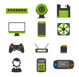 Flat design icons of computer and mobile devices. Royalty Free Stock Photography