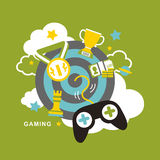 Flat design icons concept of computer games. For interface Royalty Free Stock Photo