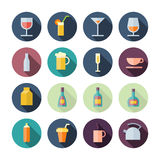 Flat Design Icons For Drinks Royalty Free Stock Photo