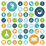 Flat design icons for education, science and medical Royalty Free Stock Photos