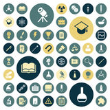 Flat design icons for education, science and medical stock illustration