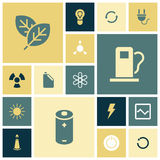 Flat design icons for energy and ecology. Vector illustration stock illustration