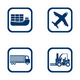 Flat design icons export import set Stock Photography
