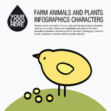 Flat design icons with farm animal - chicken Stock Images