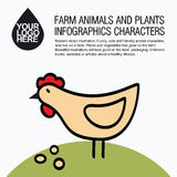 Flat design icons with farm animal - chicken Royalty Free Stock Photo