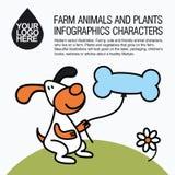 Flat design icons with farm animal - dog. Royalty Free Stock Photos