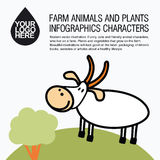 Flat design icons with farm animal - goat Royalty Free Stock Image