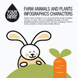 Flat design icons with farm animal - rabbit and carrot Stock Images