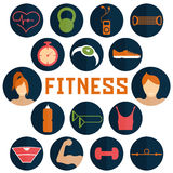 Flat design icons of fitness elements. Vector flat design icons of fitness elements Royalty Free Stock Image