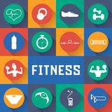 Flat design icons of fitness elements Royalty Free Stock Photo