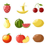 Flat design icons fresh fruit apple cherry Stock Photo