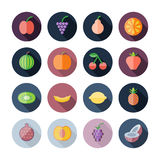 Flat Design Icons For Fruits Stock Photo