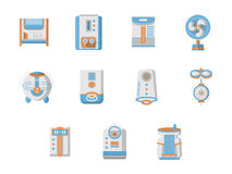 Flat design icons for home climatic system. Home climate equipment and technics. Air conditioning and purification. Home climate system devices. Set of flat Stock Image