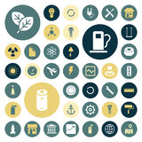 Flat design icons for industrial, energy and ecology. Vector illustration royalty free illustration