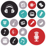Flat design icons for music and sound Royalty Free Stock Images