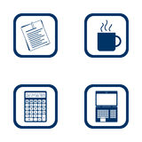 Flat design icons office set. Document, cup, calculator and laptop Vector Illustration