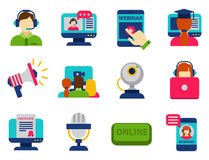 Flat design icons online education staff training book store distant learning knowledge vector illustration Royalty Free Stock Images