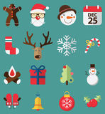 Flat design of icons set  for Christmas. Royalty Free Stock Photo