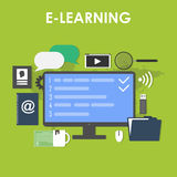 Flat design icons set of distance education Stock Images