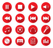 Flat design icons. Set of 16 flat design icon on circle button Royalty Free Stock Photography