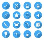 Flat design icons. Set of 16 flat design icon on circle button Royalty Free Stock Photo