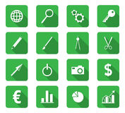Flat design icons. Set of 16 flat design icon on rectangle button Royalty Free Stock Image