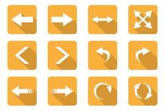 Flat design icons. Set of 12 flat design icon on rectangle button Royalty Free Stock Photo
