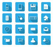 Flat design icons. Set of 16 flat design icon on rectangle button Royalty Free Stock Photos