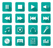 Flat design icons. Set of 16 flat design icon on rectangle button Stock Photography
