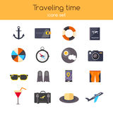Flat design. icons set of planning a summer vacation travelling, holidays, journey, tourism, travel objects, passenger. Luggage. Isolated on stylish blue Royalty Free Stock Images