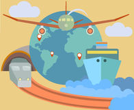 Flat design icons set of traveling on airplane, sh Royalty Free Stock Images