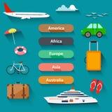 Flat design, Icons set of traveling Stock Photo
