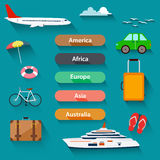 Flat design, Icons set of traveling stock illustration