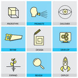 Flat design icons set of vector line prototype promote idea royalty free illustration