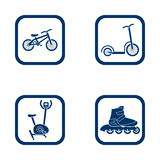Flat design icons sport set. Bike, scooter, hometrainer and inline roller Royalty Free Stock Photography