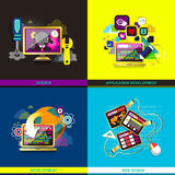 Flat design icons for web and mobile phone services. Set of flat design concept icons for web and mobile phone services and apps. icons for web design Royalty Free Stock Photos