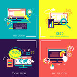 Flat design icons of web and mobile services. Set of flat design concept icons for web and mobile services Royalty Free Stock Photography
