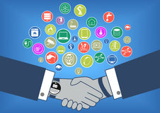 Flat design  illustration of business transaction in internet of things era with hand shake and smart watch Royalty Free Stock Images
